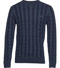 d2. winter faded cable crew gebreide trui met ronde kraag blauw gant