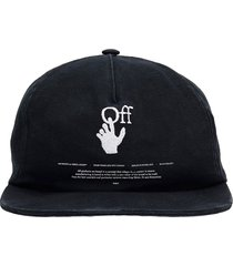 off-white hand off hats in black cotton