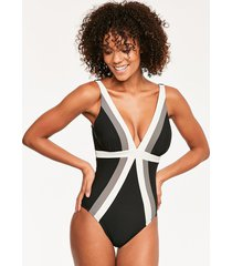 stripe spectra trilogy soft cup firm control one-piece swimsuit