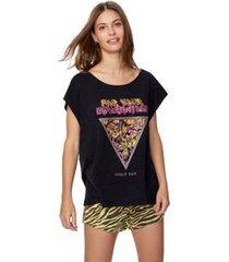 t-shirt corte a fio silk rock preto marmorizado