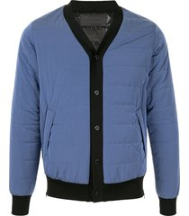 fumito ganryu padded button-front cardigan - blue