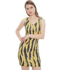 vestido gouache print amarillo - calce regular