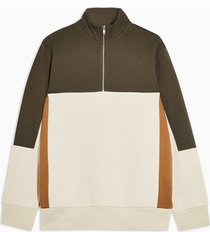 mens multi khaki and ecru 1/4 panelled sweatshirt