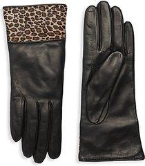 calf hair-trim leather gloves