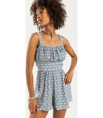 women's gabby printed milkmaid romper in sage by francesca's - size: l