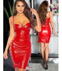 rode pu-lederen mini jurk met vetersluiting