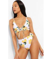 hoog uitgesneden citroenen bikini broekje met hoge taille, white