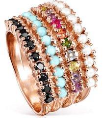 anillo straight de plata vermeil rosa con gemas tous