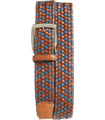 men's big & tall torino braided leather & linen belt, size 46 - cognac/ navy