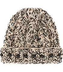 0711 bead-detail knit beanie - neutrals