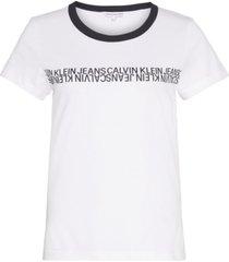 camiseta manga corta mirrored institutional slim t-shirt blanco calvin klein