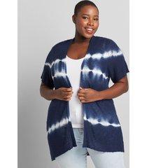 lane bryant women's short-sleeve tie-dye cardigan 14/16 blue tie dye