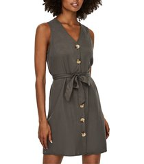 women's vero moda viviana sleeveless tie waist dress, size medium - grey