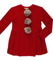 casaco l㣠com pompom removivel gingga baby e kids vermelho - vermelho - menina - l㣠- dafiti