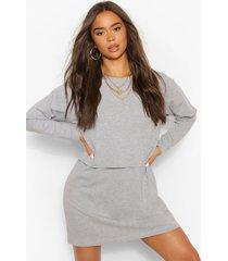 oversized t-shirt jurk met lange mouwen en crewneck, grey marl