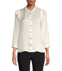 zadig & voltaire women's mandarin collar satin shirt - judo - size l