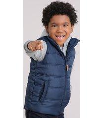 blusão infantil em moletom com capuz cinza mescla + colete puffer azul marinho