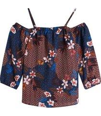 blusa con elastico en mangas color azul, talla xs