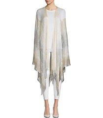 gradient knit fringed cape shrug