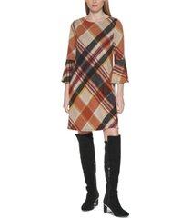 jessica howard plaid flared-sleeve shift dress
