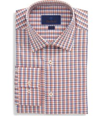 men's big & tall david donahue check trim fit dress shirt, size 16.5 - 36/37 - orange