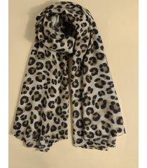 bufanda de leopardo con ribete de borlas