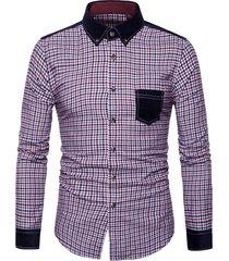 corduroy panel plaid button down long sleeve shirt