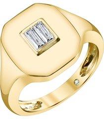18k gold baguette pinky diamond ring
