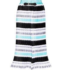 mariah esa buckle detailed striped skirt - white