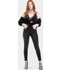 isabelle button cardigan - black
