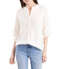 vince camuto ruffle sleeve split neck blouse, size large in new ivory at nordstrom