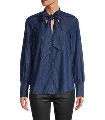kate spade new york women's tie-neck denim shirt - indigo - size xxs