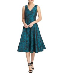 floral jacquard fit-&-flare dress