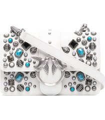 pinko love birds studded clutch bag - white