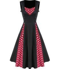 button polka dots patchwork a line dress