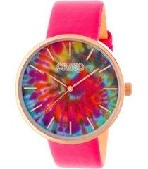 crayo unisex swirl hot pink leatherette strap watch 42mm