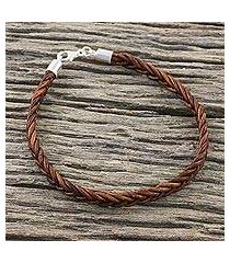 leather wristband bracelet, 'style and strength in mahogany' (thailand)