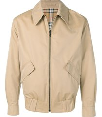 burberry reversible gabardine and check harrington jacket - brown