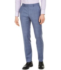 hugo men's modern-fit blue plaid suit pants
