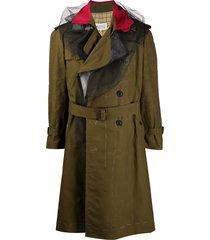 maison margiela tulle-detail trench coat - green