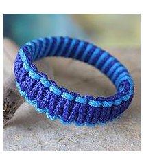 bangle bracelet, 'queen amina in blue parallel' (ghana)