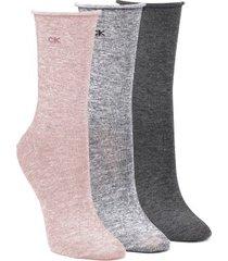 calvin klein 3 stuks emma roll top crew socks