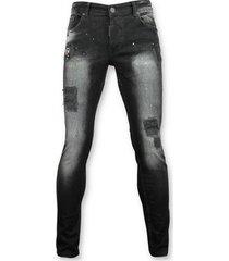 skinny jeans addict e spijkerbroek met patches - 045