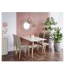 conjunto de mesa de jantar adele com tampo de vidro off white e 4 cadeiras estofadas juliana suede joli e madeira