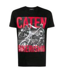 dsquared2 camiseta com estampa caten bikerismo - preto