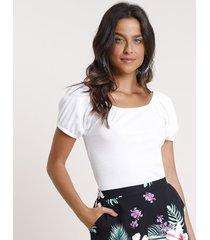 blusa feminina canelada manga bufante decote reto branca