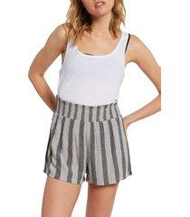 women's volcom coco smocked shorts, size large - grey