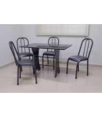 conjunto cozinha verona 1,20 com granito c/4 cadeiras roma baixa açomix