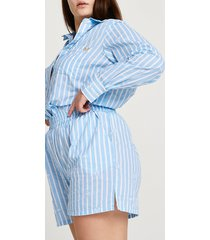 river island womens plus blue stripe loose fit shorts