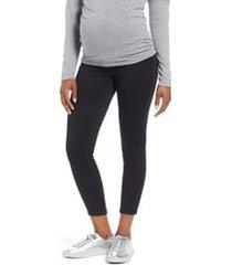 1822 denim butter ankle super skinny maternity jeans, size 31 in black at nordstrom